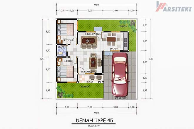 Desain Rumah Type 45 Minimalis Biaya Dan Denah